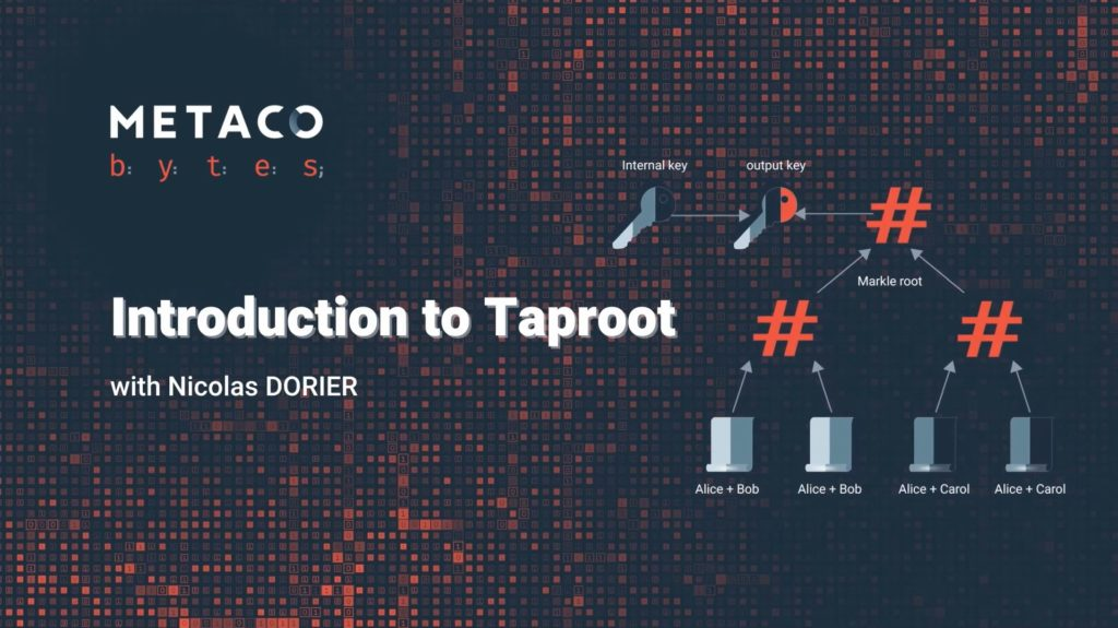 METACO bytes What is Taproot Bitcoin soft fork Nicolas Dorier